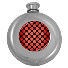 Circles2 Black Marble & Red Brushed Metal (r) Round Hip Flask (5 Oz)