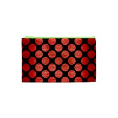 Circles2 Black Marble & Red Brushed Metal (r) Cosmetic Bag (xs) by trendistuff