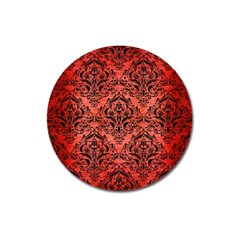 Damask1 Black Marble & Red Brushed Metal Magnet 3  (round) by trendistuff