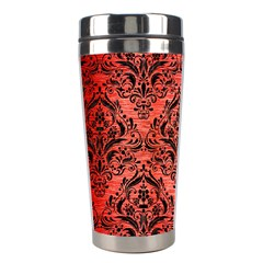 Damask1 Black Marble & Red Brushed Metal Stainless Steel Travel Tumblers by trendistuff