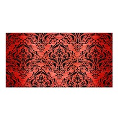 Damask1 Black Marble & Red Brushed Metal Satin Shawl by trendistuff