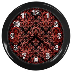 Damask1 Black Marble & Red Brushed Metal (r) Wall Clocks (black) by trendistuff