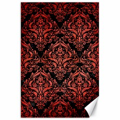 Damask1 Black Marble & Red Brushed Metal (r) Canvas 20  X 30   by trendistuff