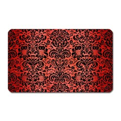 Damask2 Black Marble & Red Brushed Metal Magnet (rectangular) by trendistuff