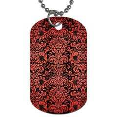 Damask2 Black Marble & Red Brushed Metal (r) Dog Tag (two Sides) by trendistuff