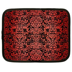 Damask2 Black Marble & Red Brushed Metal (r) Netbook Case (large) by trendistuff