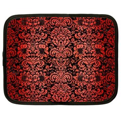 Damask2 Black Marble & Red Brushed Metal (r) Netbook Case (xxl)  by trendistuff