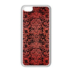 Damask2 Black Marble & Red Brushed Metal (r) Apple Iphone 5c Seamless Case (white) by trendistuff