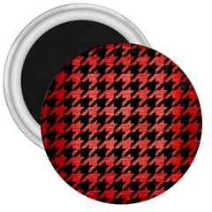 Houndstooth1 Black Marble & Red Brushed Metal 3  Magnets by trendistuff