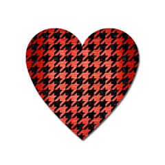 Houndstooth1 Black Marble & Red Brushed Metal Heart Magnet by trendistuff