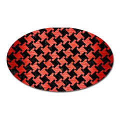 Houndstooth2 Black Marble & Red Brushed Metal Oval Magnet by trendistuff