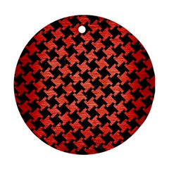 Houndstooth2 Black Marble & Red Brushed Metal Round Ornament (two Sides) by trendistuff
