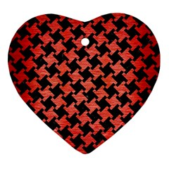 Houndstooth2 Black Marble & Red Brushed Metal Heart Ornament (two Sides) by trendistuff