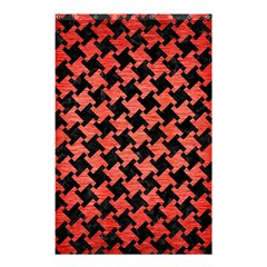 Houndstooth2 Black Marble & Red Brushed Metal Shower Curtain 48  X 72  (small)  by trendistuff
