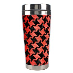 Houndstooth2 Black Marble & Red Brushed Metal Stainless Steel Travel Tumblers by trendistuff