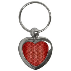 Hexagon1 Black Marble & Red Brushed Metal Key Chains (heart)  by trendistuff