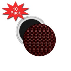 Hexagon1 Black Marble & Red Brushed Metal (r) 1 75  Magnets (10 Pack)  by trendistuff