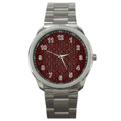 Hexagon1 Black Marble & Red Brushed Metal (r) Sport Metal Watch by trendistuff