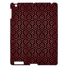 Hexagon1 Black Marble & Red Brushed Metal (r) Apple Ipad 3/4 Hardshell Case by trendistuff