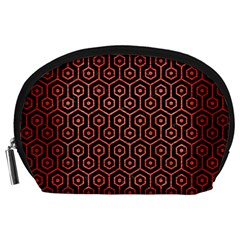 Hexagon1 Black Marble & Red Brushed Metal (r) Accessory Pouches (large)  by trendistuff