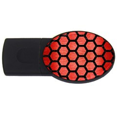 Hexagon2 Black Marble & Red Brushed Metal Usb Flash Drive Oval (2 Gb) by trendistuff