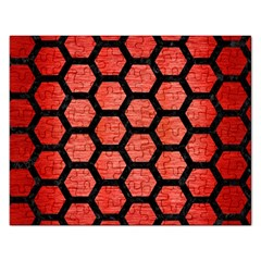Hexagon2 Black Marble & Red Brushed Metal Rectangular Jigsaw Puzzl by trendistuff