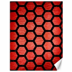 Hexagon2 Black Marble & Red Brushed Metal Canvas 36  X 48   by trendistuff