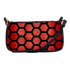 Hexagon2 Black Marble & Red Brushed Metal Shoulder Clutch Bags by trendistuff
