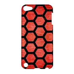 Hexagon2 Black Marble & Red Brushed Metal Apple Ipod Touch 5 Hardshell Case by trendistuff