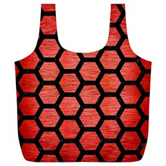 Hexagon2 Black Marble & Red Brushed Metal Full Print Recycle Bags (l)  by trendistuff