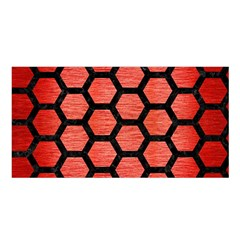 Hexagon2 Black Marble & Red Brushed Metal Satin Shawl by trendistuff