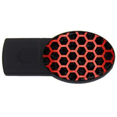 Hexagon2 Black Marble & Red Brushed Metal (r) Usb Flash Drive Oval (2 Gb) by trendistuff