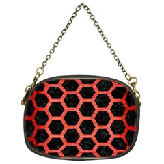 Hexagon2 Black Marble & Red Brushed Metal (r) Chain Purses (one Side)  by trendistuff