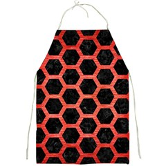 Hexagon2 Black Marble & Red Brushed Metal (r) Full Print Aprons by trendistuff