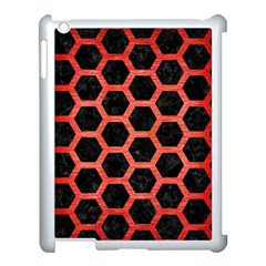 Hexagon2 Black Marble & Red Brushed Metal (r) Apple Ipad 3/4 Case (white) by trendistuff