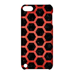 Hexagon2 Black Marble & Red Brushed Metal (r) Apple Ipod Touch 5 Hardshell Case With Stand by trendistuff