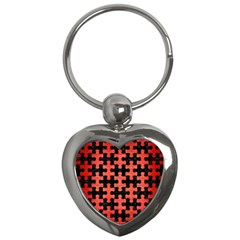 Puzzle1 Black Marble & Red Brushed Metal Key Chains (heart)  by trendistuff