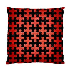 Puzzle1 Black Marble & Red Brushed Metal Standard Cushion Case (two Sides) by trendistuff