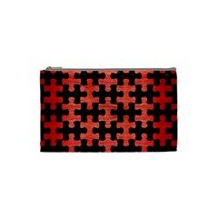 Puzzle1 Black Marble & Red Brushed Metal Cosmetic Bag (small)  by trendistuff