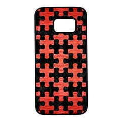 Puzzle1 Black Marble & Red Brushed Metal Samsung Galaxy S7 Black Seamless Case