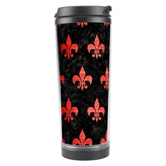 Royal1 Black Marble & Red Brushed Metal Travel Tumbler by trendistuff