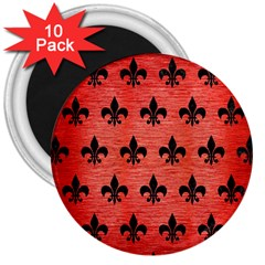 Royal1 Black Marble & Red Brushed Metal (r) 3  Magnets (10 Pack)  by trendistuff