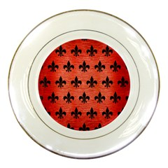 Royal1 Black Marble & Red Brushed Metal (r) Porcelain Plates by trendistuff