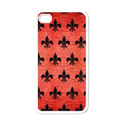 Royal1 Black Marble & Red Brushed Metal (r) Apple Iphone 4 Case (white) by trendistuff