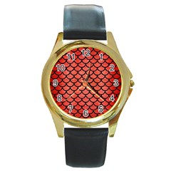 Scales1 Black Marble & Red Brushed Metal Round Gold Metal Watch by trendistuff