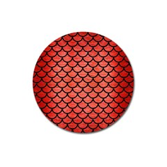 Scales1 Black Marble & Red Brushed Metal Magnet 3  (round)