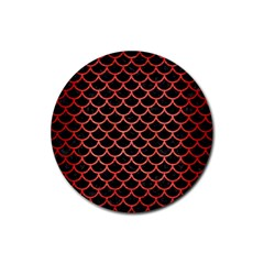 Scales1 Black Marble & Red Brushed Metal (r) Rubber Coaster (round)  by trendistuff