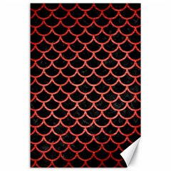 Scales1 Black Marble & Red Brushed Metal (r) Canvas 24  X 36  by trendistuff