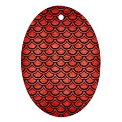 Scales2 Black Marble & Red Brushed Metal Ornament (oval) by trendistuff
