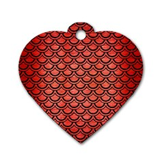 Scales2 Black Marble & Red Brushed Metal Dog Tag Heart (one Side) by trendistuff